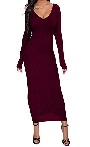 (Women's Sexy Casual Novelty Sweaters Stretchable Elasticity Long Sleeve Maxi Dress Off Shoulder Knit Slim Fit)