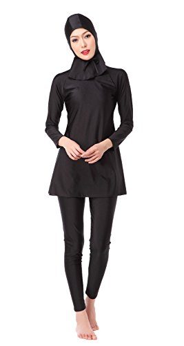 Women's Full Length Long Muslim Islamic Burkini Modest Swimwear (Asia L, Black) by CaptainSwim