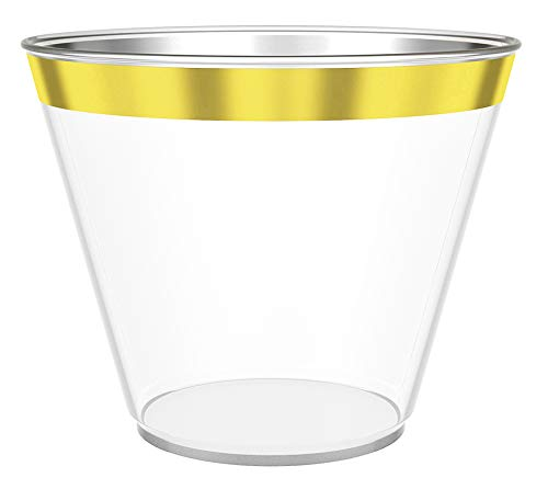 100 Gold Plastic Cups, 9 Oz Clear Plastic Cups, Old Fashioned Tumblers, Gold Rimmed Cups, Hard Plastic Drinking Cups, Disposable Wedding Cups, Party Cups with Gold Rim