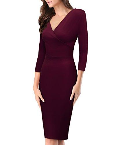 - Women's Plum Cross V Neck MIDI Dress KDR44322X 1073T Wine 2X