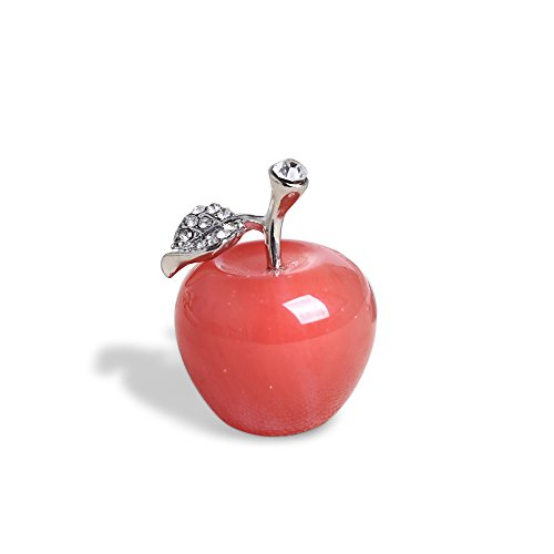 Apple Statue (Hongjintian Natural Healing Crystal &Gemstone Carved Apple Figurine Statue Crystal Apple Ornament with Alloy Leaf for Personal Collection AVG.1.18Inch Diameter (Red Fused Crystal))