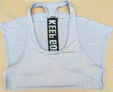 SGYHPL Sommer Frauen Gym Sport Weste Ärmelloses Shirt Fitness Laufbekleidung Tanktops Workout Yoga Unterhemden Quick Dry Tuniken L Keep Going Grau