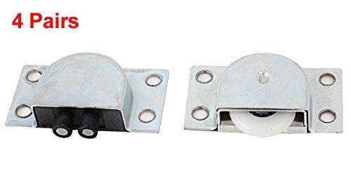 Set de 4 Piezas Sourcingmap A14061000UX0773 Rodillos para puerta corrediza Plata 23 mm