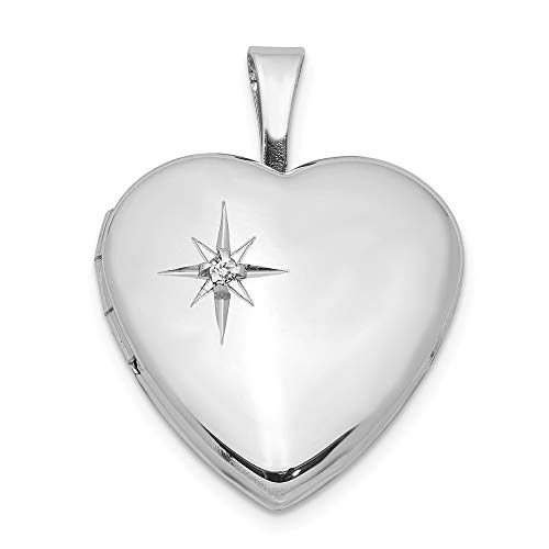 16mm Diamond Star Design Heart Shaped Locket in Sterling Silver Necklace - 16 inch -