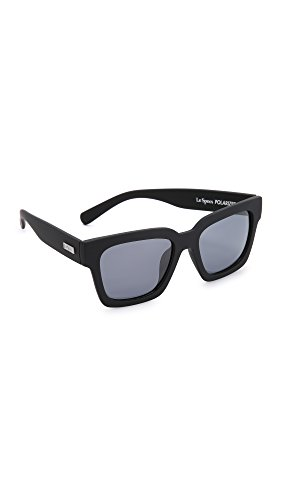 Le Specs Women's Weekend Riot Polarized Sunglasses, Black Rubber/Smoke Mono, One - Le Sunglasses Specs