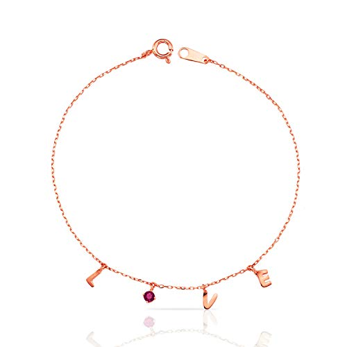 Jewels Company Pretty 14k Rose Gold Love Bracelet with Dangling Letters and Red CZ on Delicate Chain for Women and Girls ()