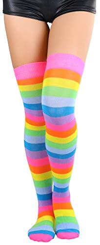 ToBeInStyle Women's Acrylic Rainbow Thigh Highs - Multicolored