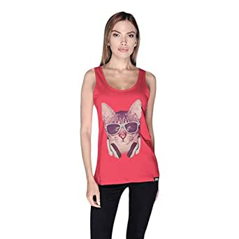 Cero Cool Cat Retro Tank Top For Women - L, Pink