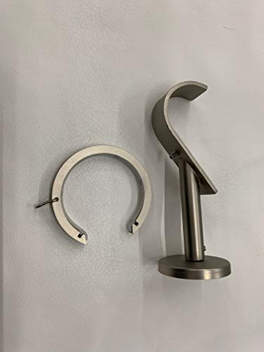 Fabrics and Drapes Amazing Drapery 1 1/2 inch Bypass/Carryover Bracket and Ring Combo - 3 Piece - Pewter ()