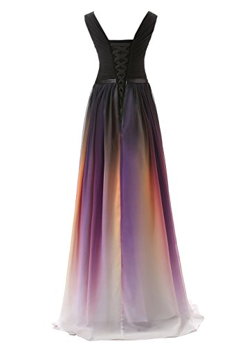 Chiffon Formal Gown Women's Evening Prom Belle Gradient 341 Color black Long Dress House awAFHqIX