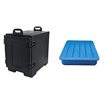 Carlisle PC300N03 Cateraide End-Loading Insulated Food Pan Carrier, 5 Pan Capacity, Black + PC66014 CaterCooler Exclusive CaterCooler, Blue
