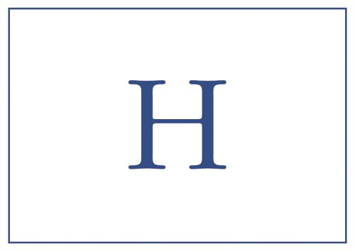 Entertaining with Caspari Embossed Navy Initial-H Blank Notecards, Box of 8-