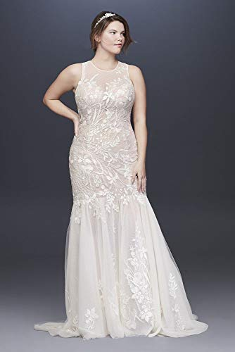 Blooming Applique Plus Size Wedding Dress Style 8MS251201, Ivory, 16W