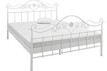 Einzelbett weiß metall  Metall-Bett weiß Selbstmontage mit Aufbauanleitung: Amazon.de: Küche ...