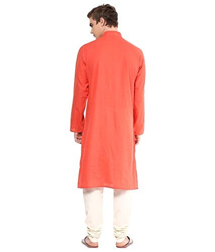 Royal Kurta Men's Summer Wear Fine Cotton Blended Straight Kurta 44 Orange