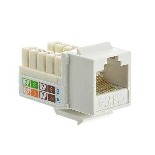 Connection Blocks 110 Punch - GOWOS (50-Pack) Cat6 Keystone Jack, White, RJ45 Female to 110 Punch Down