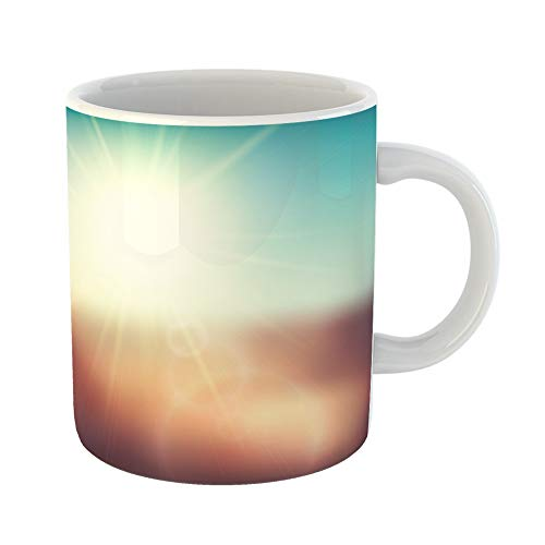 Emvency Coffee Tea Mug Gift 11 Ounces Funny Ceramic Blurry Evening Scene Brown Field Sun Burst Blue and Green Blur Sky Gifts For Family Friends Coworkers Boss Mug -