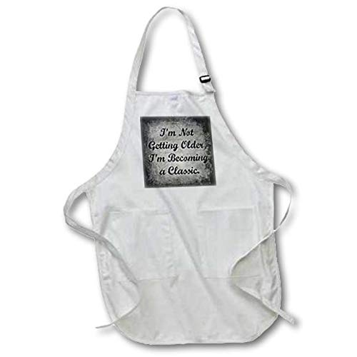 3dRose apr/_201909/_1 Im Not Getting Older Im Becoming a Classic Black Lettering Full Length Apron with Pockets White 22 by 30