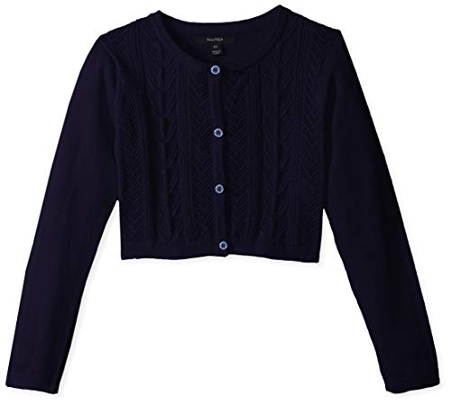 (Nautica Girls' Toddler' Long Sleeve Fashion Cardigan, Navy Cable, 4T)