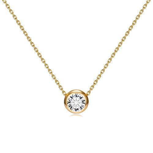 (Blinkingstare Gold Chain Dainty Choker Necklace - Pendant Handmade Choker Necklace,AAAAA Cubic Zirconia Drop)