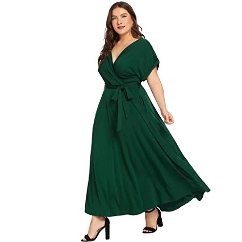 BODOAO Women Plus Size Loose Maxi Dress Casual Solid V Neck Short Sleeved Summer Dress