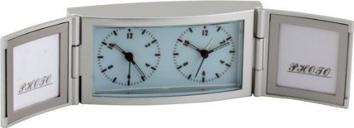 New Haven 2160 Photo Frame Alarm Clock (Analog Time Zone Clock)
