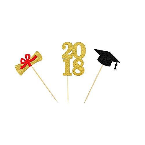 2018 Graduation Cake Cupcake Toppers Picks for Graduation Party Decoration 24 PCS