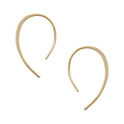 Humble Chic Upside Down Hoops - Hypoallergenic Lightweight Open Wire Needle Drop Dangle Threader Earrings, 18K Yellow - 1