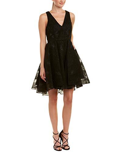 Silk-Trim Wool-Blend A-Line Dress, 4, Black ()