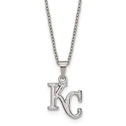 (Q Gold MLB Kansas City Royals Stainless Steel Kansas City Royals Pendant on Chain with 2 in ext Necklace Size One Size )