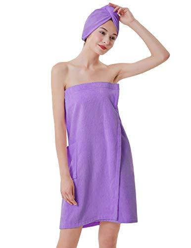 (Women Bath Towel Spa Body Wrap with Pockets and Turban Purple S)