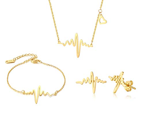 XUANPAI Gold Plated EKG Actual Heartbeat Earring &Bracelet&Necklace 3 Pack Set Cute Life Line Cardiogram Gift for Women -