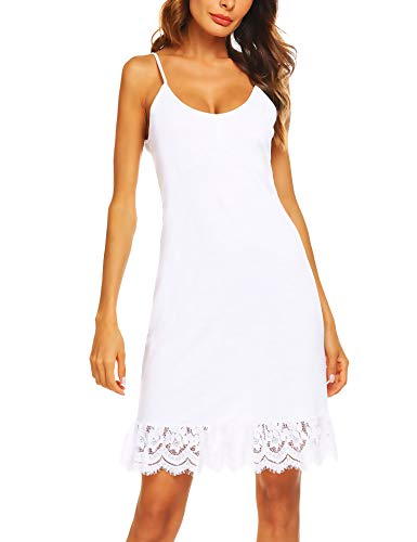 Zeagoo Women's Adjustable Spaghetti Strap Chiffon Ruffle Camisole Dress Extender White S