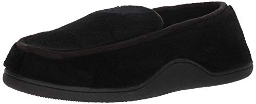 Isotoner Men's Microterry Slip On Slippers, Black, Large / 9.5-10.5 US
