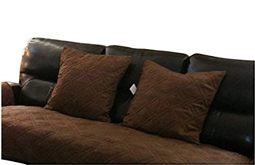 OctoRose Bonded Micro Suede Quilted Cushion Cases (Brown, 2pcs-20x20''(cushion case)) by OctoRose