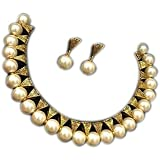 Saraa Dazzling Gold Plated Oxidized Polish Metal White Coloured Pearl Jewellery Set for Women/Girls