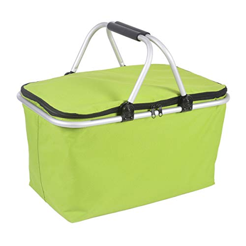 Deacroy Insulated Picnic Basket,Collapsible Cooler Bag with Aluminium Handle,32L Large Waterproof Lining Design for Outdoor Travel Camping or Family Vacations,Green ()