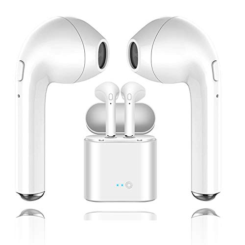 Bluetooth headset, i7 wireless headset stereo in-ear headphones with built-in headphone charging box and two microphone headsets, compatible with iPhone 8 8plus 7 7s Plus smartphone 6s Android Samsung