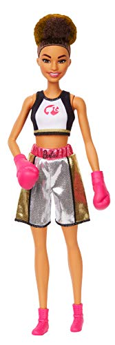 Barbie Boxer Brunette Doll with Boxing Outfit Featuring Short Top with Barbie Graphic, Metallic Boxing Shorts and Pink Boxing Gloves, for Ages 3 and Up