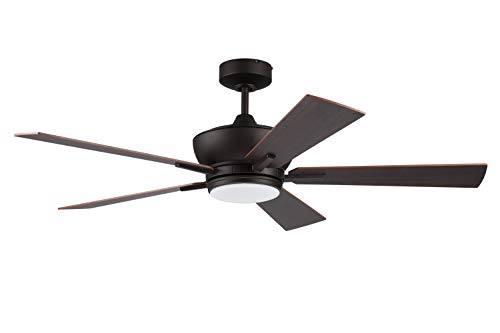 """Litex Industries WE52EB5LR Litex Wendling Modern 52""""Ceiling Fan Bronze Finish with 5 Cherry/Mahogany Reversible Blades, Remote Control, UL Rated"""