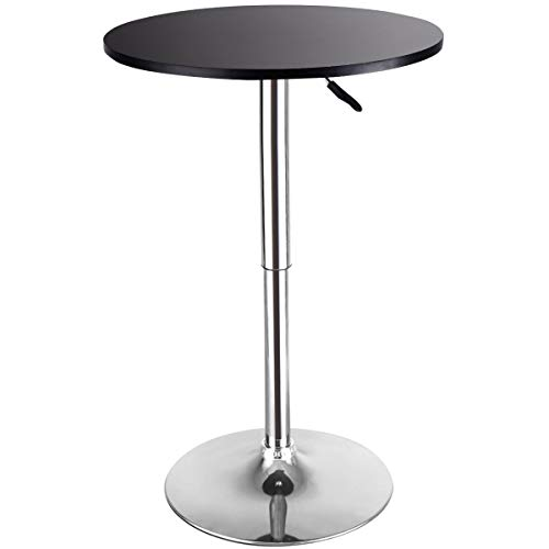 Costway Modern Round Bar Table, Cocktail Table Adjustable Bistro Pub Counter Wood Top Swivel Indoor (1) ()