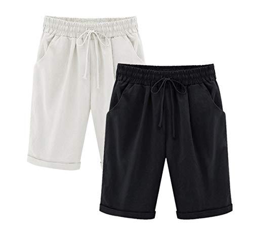 Yknktstc Womens Casual Elastic Waist Knee Length Curling Bermuda Shorts with Drawstring Medium 2 Pack Black White ()