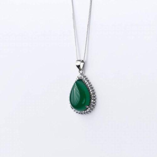 - Sterling Silver Earrings Choker Necklace S925 Sterling Necklace Pendant Female Retro S925 Sterling Drop-Shaped Green Chalcedony Necklace Temperament Geometric Clavicle Chain, LOt