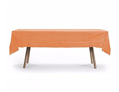 10 Pack Rectangular Table Cover,Premium Plastic Tablecloth, Plastic Table Cover Reusable (Orange)]()