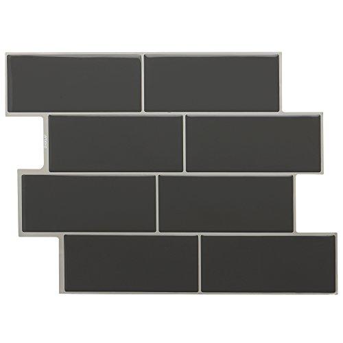 STICKGOO Peel and Stick Subway Tile, Stick on Vinyl Tiles Backsplash for Kitchen & Bathroom 6 Sheet (Dark Grey) ()