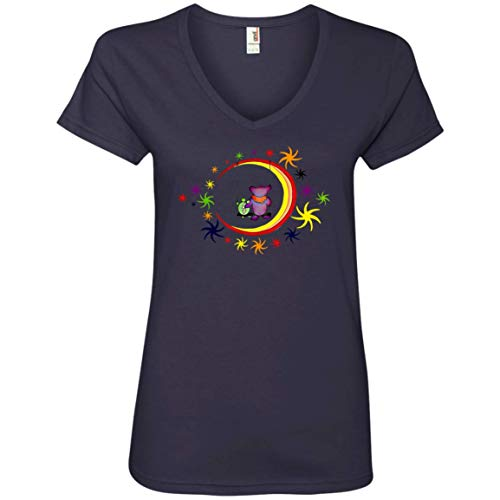 (Epicura Terrapin Bear Moon Swing Ladies' V-Neck T-Shirt Navy)