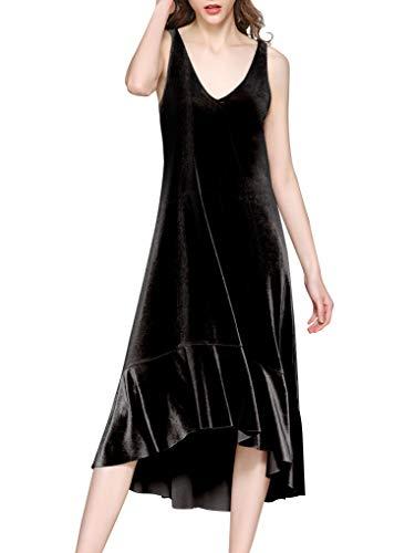 (Spicy Sandia Long Velvet Dress Women V-Neck Sleeveless Casual Black Dresses, X-Large)