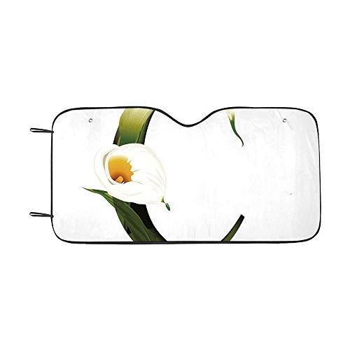 Letter C Durable Car Sunshade,White Lily Flower Nature Inspirations Art Alphabet Letter C ABC Print for car,55