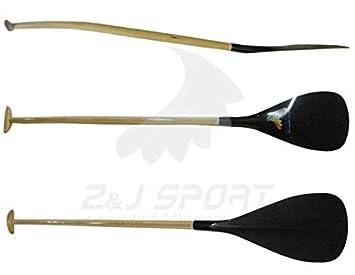 ZJ Sport Pala de Fibra de Vidrio híbrida Outrigger Canoe OC Pala con Eje Curvado de Madera: Amazon.es: Deportes y aire libre