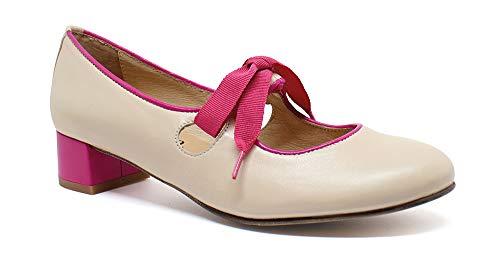 Tacón Zapato rosa Up Pin Piel Carlota Beige Bajo De 55rSxvz